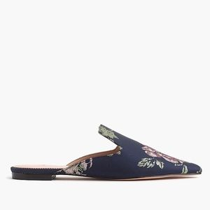 New JCREW Pointed-toe slides in floral brocade